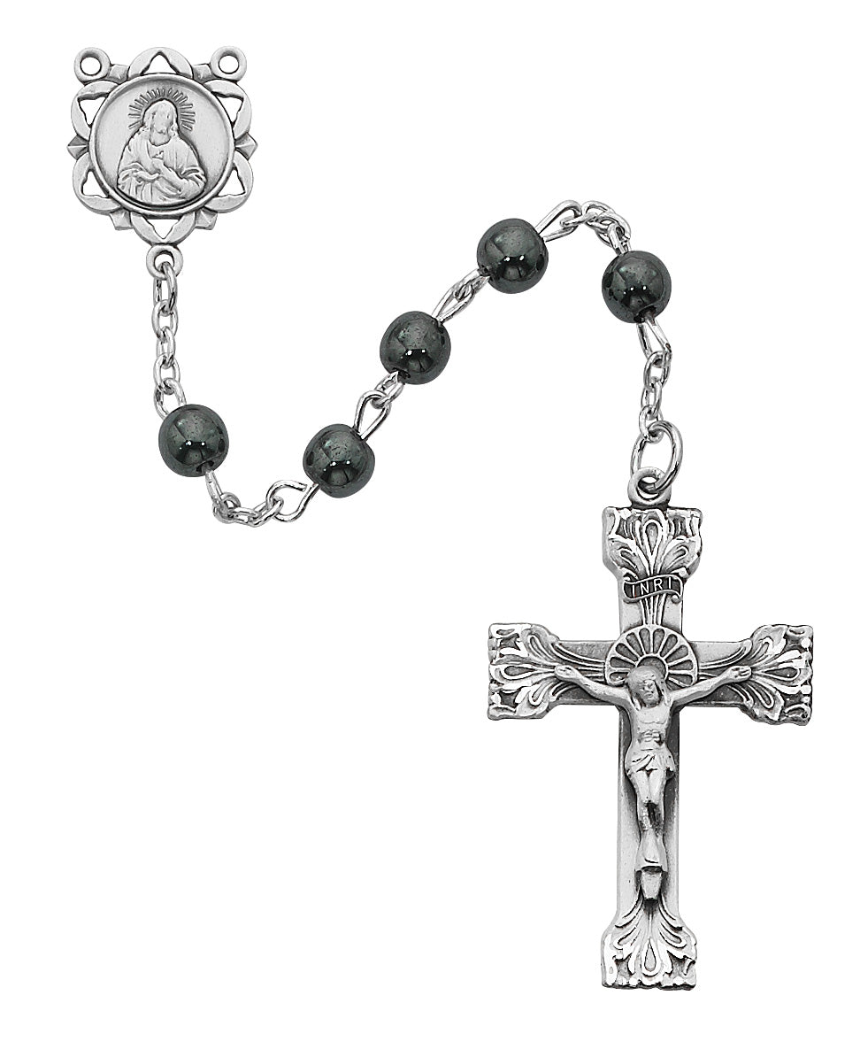 Genuine Hematite Rosary Boxed