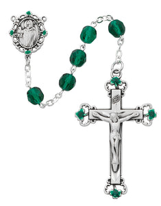 Green Glass Shamrock Rosary Boxed