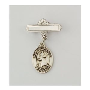 Sterling Silver St. Christopher Baby Pin
