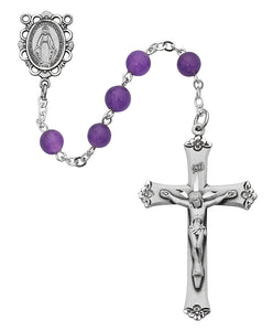 Genuine Amethyst Rosary Boxed