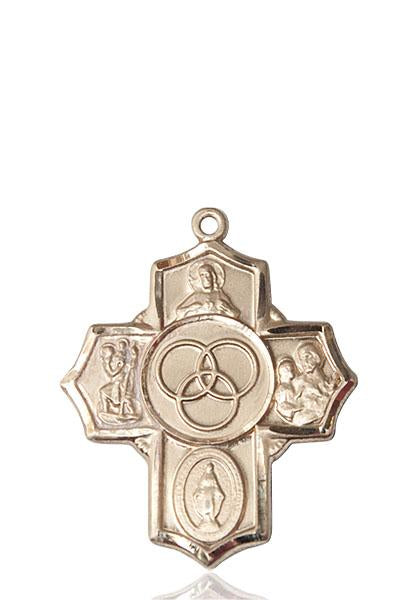 Windows of Heaven Catholic Gifts | windowsofheavenco.com | 14kt Gold BLENDED FAMILY 5-WAY Medal