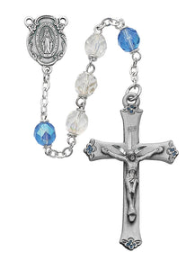 Blue and Aurora Glass Rosary Boxed