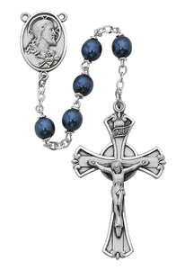 Blue metallic Rosary Boxed