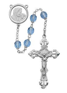 Blue Glass Rosary Boxed