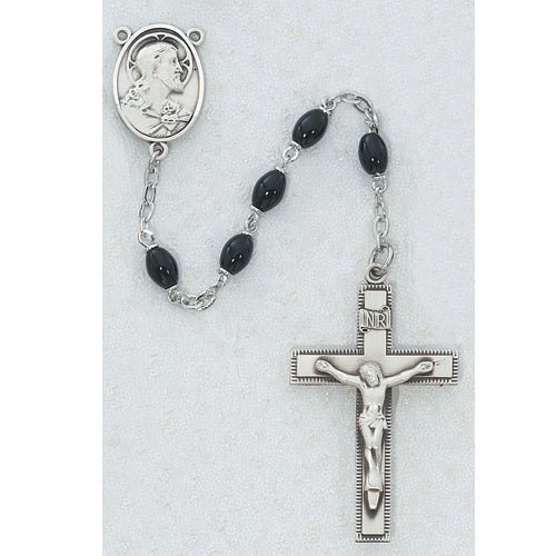 Black Oval Glass Rosary Boxed