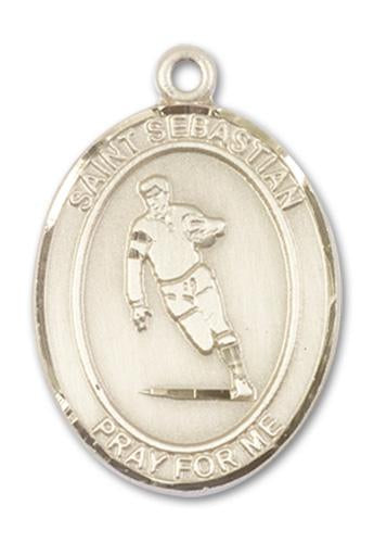 14kt Gold St. Sebastian / Rugby Medal | Windows of Heaven Catholic Gifts | windowsofheavenco.com