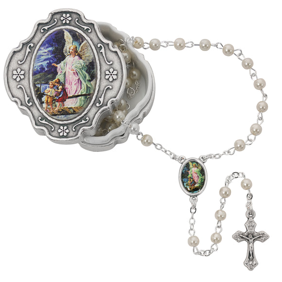 Guardian Angel Box and Pearl Like Rosary