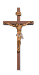 12 in. Walnut Stain Crucifix Boxed