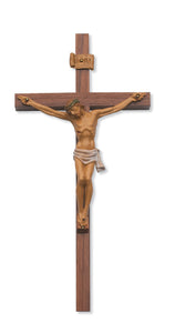 24 in. Walnut Stain Crucifix Boxed