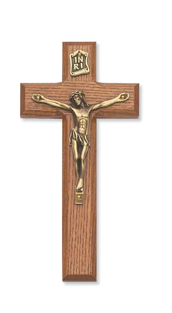 7 in. Walnut Stain Crucifix Boxed