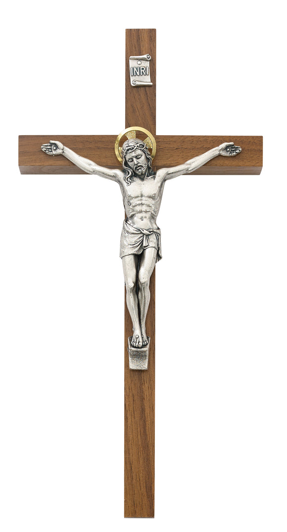 8 in. Walnut Stain Crucifix Boxed