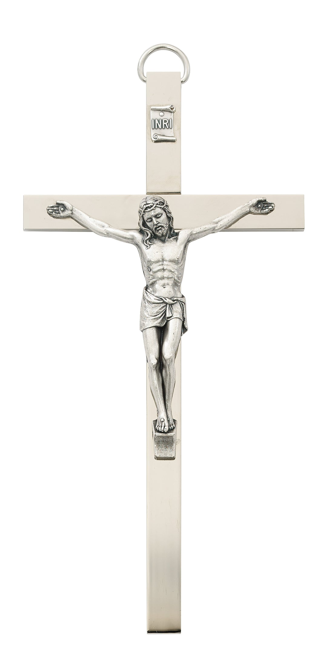 8 In. Chrome Plated Crucifix Boxed