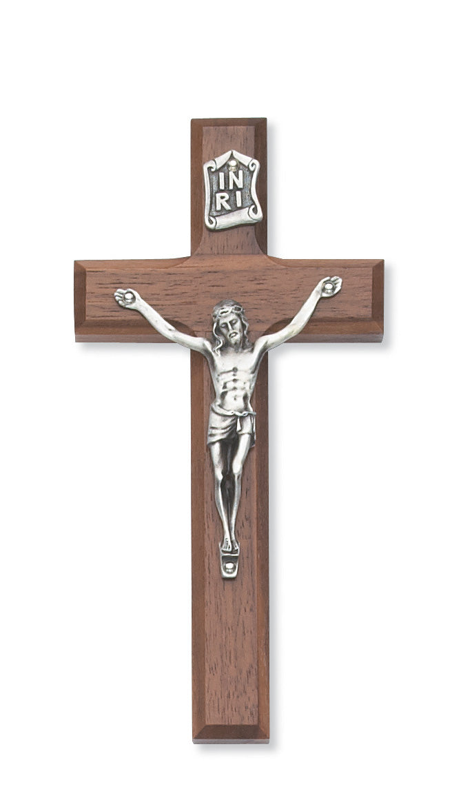 6 in. Walnut Stain Crucifix Boxed