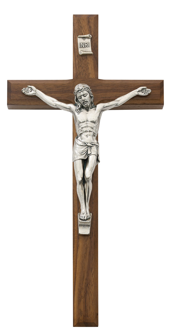 10 in. Walnut Stain Inlay Crucifix Boxed