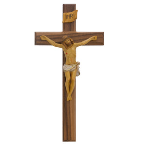 13 in. Walnut Stain Crucifix Boxed