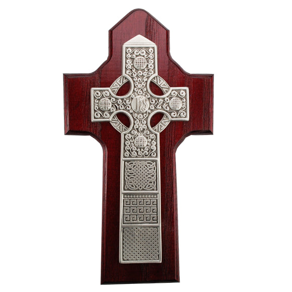 8in Cherry Stained Celtic Cross Boxed