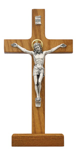 8 in. Walnut Standing Crucifix Boxed