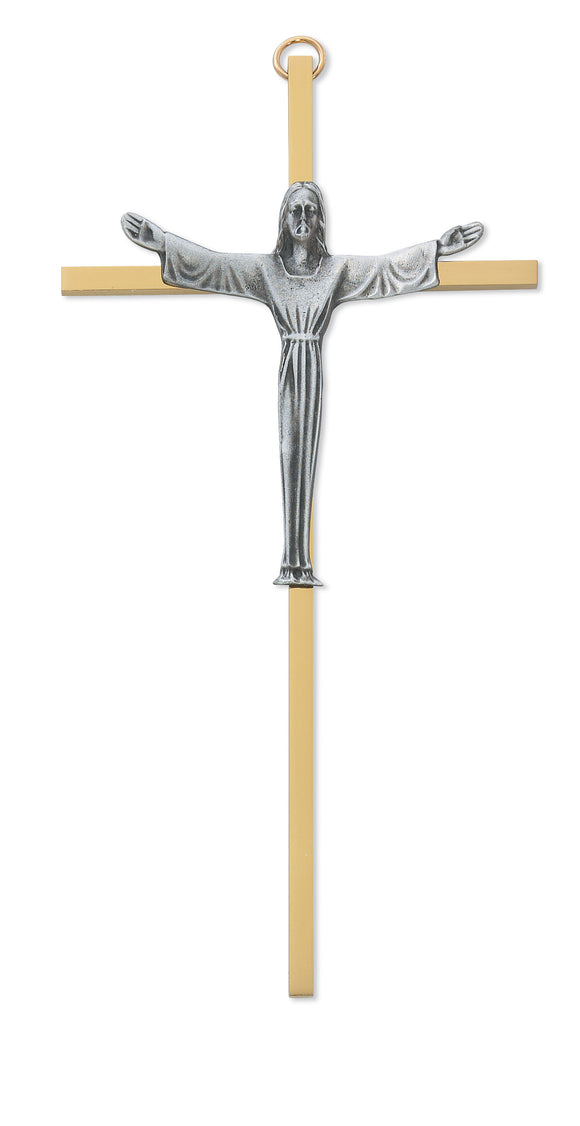 7 in. Brass Crucifix Boxed