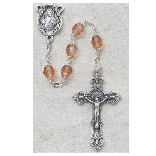 Pink Glass October Rosary Boxed