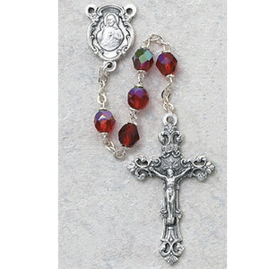 Red Glass July Rosary Boxed