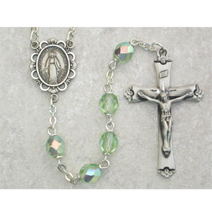 Light Green Glass August Rosary Boxed