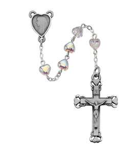 Aurora Glass Heart Rosary Boxed
