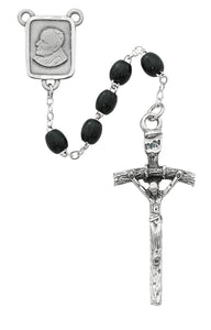 Black Wood Papal Rosary Boxed