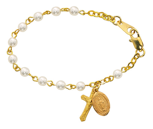 5 12in Gold Pearl like Baby Bracelet