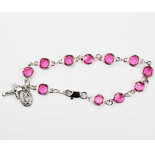 7.5in Pink Crystal Bracelet Boxed