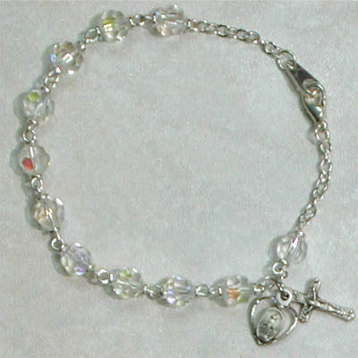 7.5in Crystal Rosary Bracelet Boxed