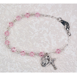 6.5 in Pink Crystal Bracelet Boxed
