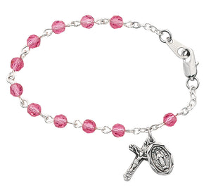 5 12in Pink Crystal Baby Bracelet Boxed