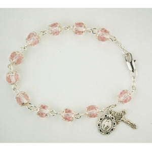 7.5in Pink Capped Crystal Bracelet Boxed