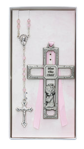 Crib Cross and Pink Rosary Set Boxed
