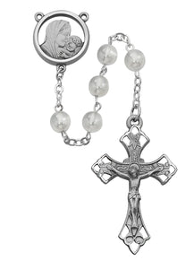 Mother and Child White Glass Rosary Boxed