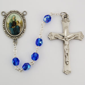 Blue St Anne Rosary Boxed