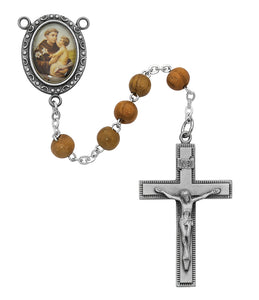 Olive Wood St Anthony Rosary Boxed