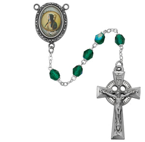 Green St Brigid Rosary Boxed