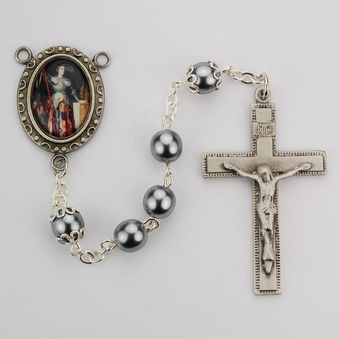 Gray Glass St Joan of Arc Rosary Boxed
