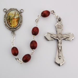 Brown Wood St Luke Rosary Boxed