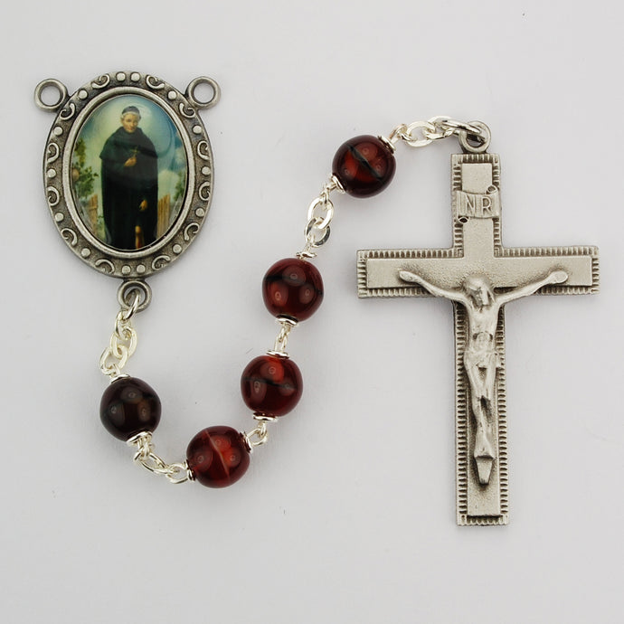 Red and Black St Peregrine Rosary Boxed