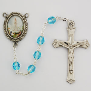 Aqua Glass Lady of Fatima Rosary Boxed