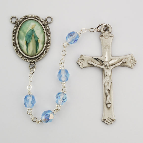 Blue Glass Lady of Grace Rosary Boxed