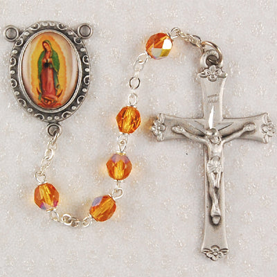 Amber Glass Lady of Guadalupe Rosary Boxed