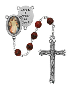 Red and Black Divine Mercy Rosary Boxed