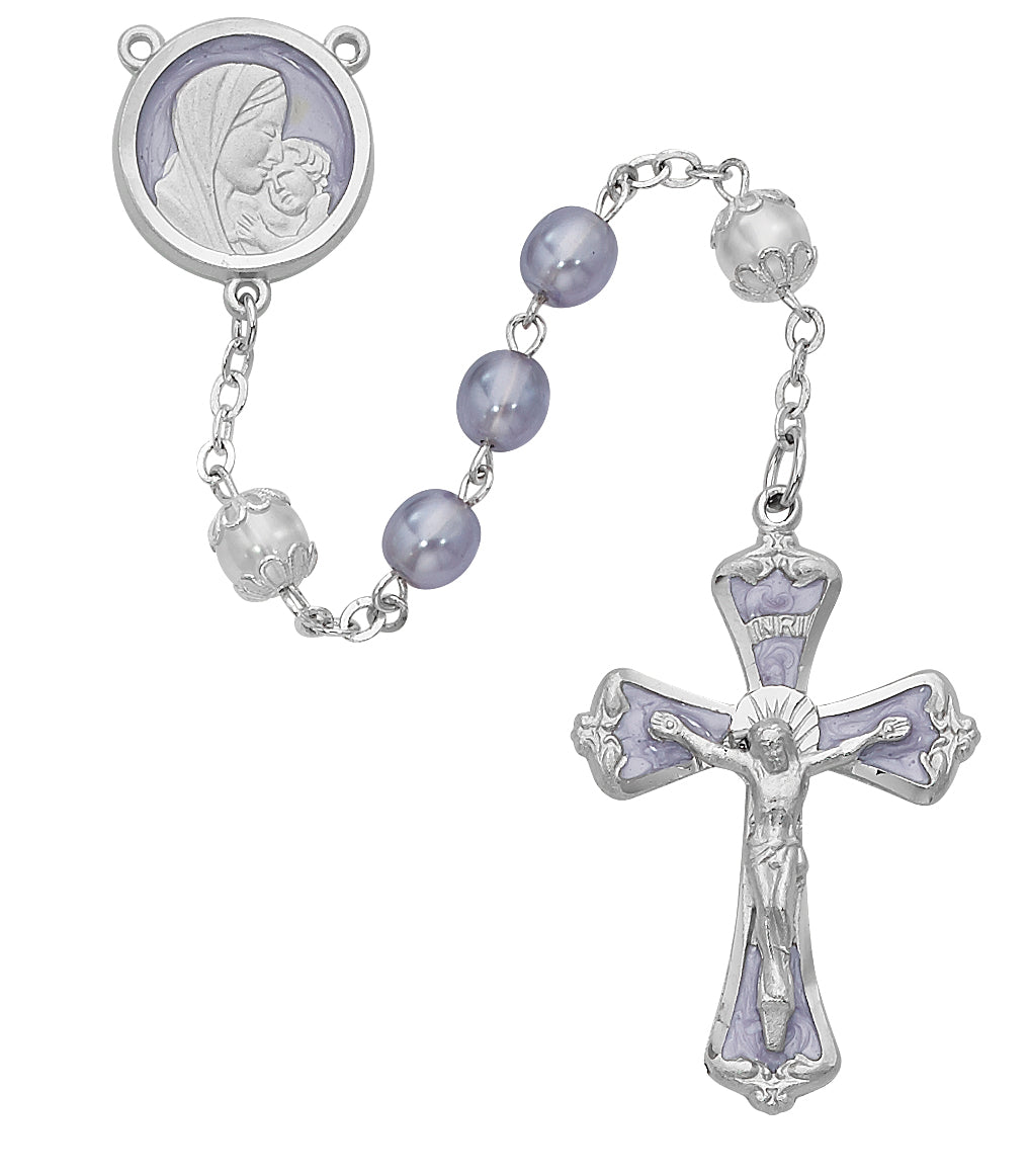 Mother and Child Purple Pearl like  Rosary Boxed