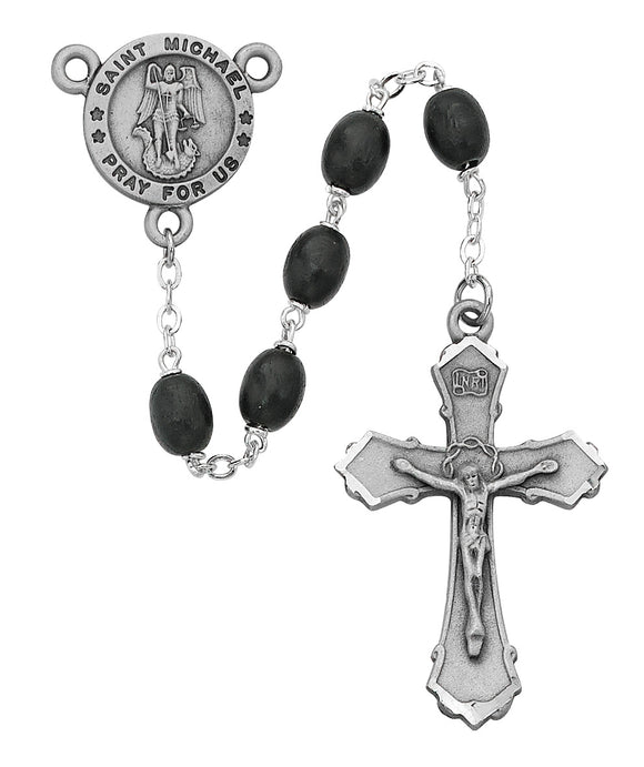 Black Wood St Michael Rosary Boxed