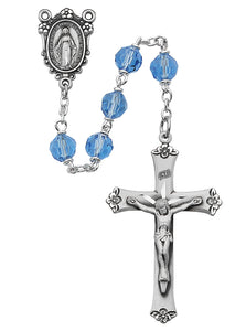 Blue Tin Cut Crystal Rosary Boxed