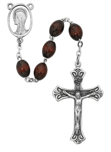 Brown Oval Wood Rosary Boxed