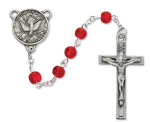 Red Glass Holy Spirit Rosary Boxed